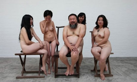 Ai Weiwei and female nudists.