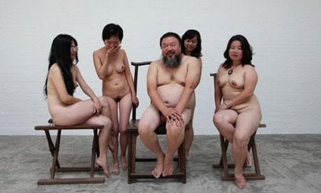 Ai Weiwei and female nudists.