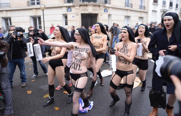 Nudists in Russia marching against Putin's 3rd term??? . . .