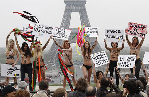 Nudists in Paris.