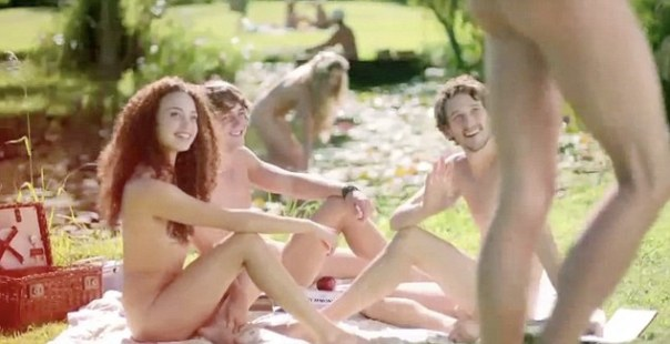 This is not a nudist gathering but rather an English advert.